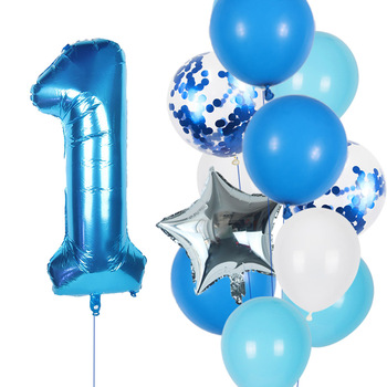 12 unids/lote chico globos de Cumpleaños conjunto azul 0 1 2 3 4 5 6 7 8 9 40 pulgadas hoja número globo 1st 2nd 3rd la fiesta de cumpleaños de bolas de juguete