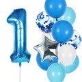12 шт./лот, синие шары на день рождения для мальчиков 0, 1, 2, 3, 4, 5, 6, 7, 8, 9, 40 дюймов, фольга, воздушные шары для первого, второго, третьего дня рожде...