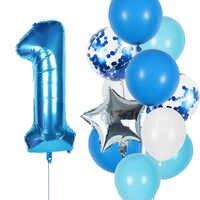 Juego de 12 globos de cumpleaños para niño, globos de aluminio azules de 0, 1, 2, 3, 4, 5, 6, 7, 8, 9 y 40 pulgadas para fiesta de cumpleaños de 1 ° y 3 ° cumpleaños