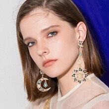 2019 New Sun Moon Crystal Long Drop Earrings For Women Colorful  Asymmetry Rhinestone Dangle Earring Wedding Jewelry Female