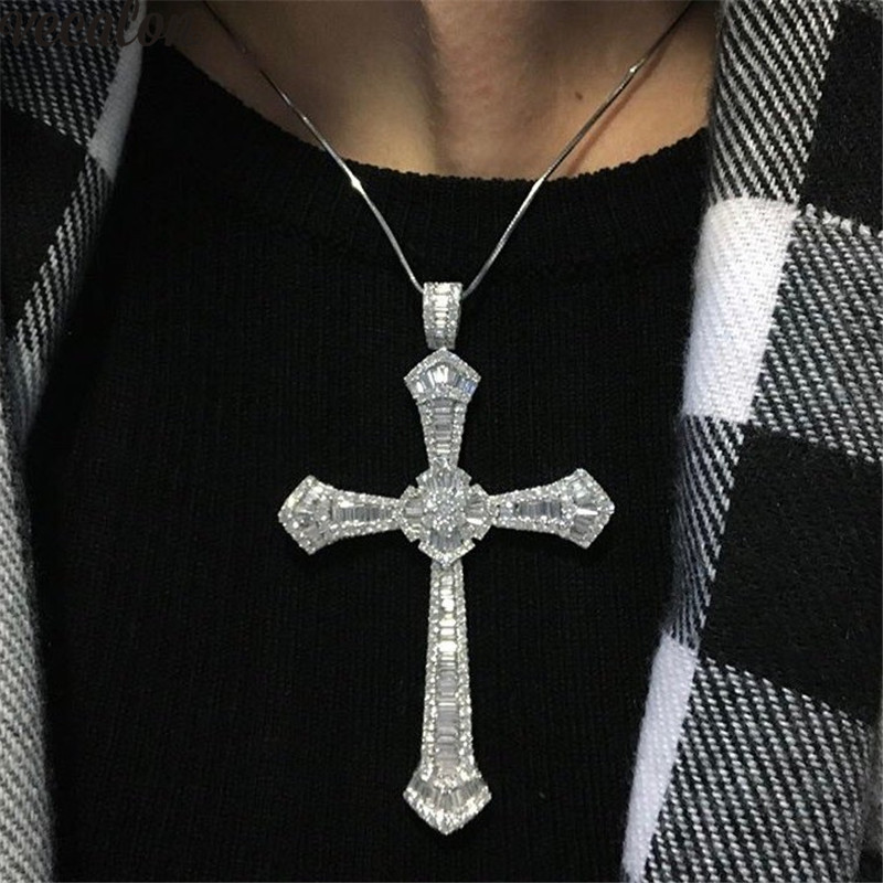 Luxury Long Big Cross pendant 925 Sterling silver 5A Cz Stone cross Pendant necklace for Women Men Party Wedding Jewelry