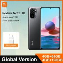 "Versão global xiaomi redmi nota 10 4gb 64gb/128gb telefone móvel snapdragon 678 6.43 ""amoled display 48mp quad camera 33w rápido"