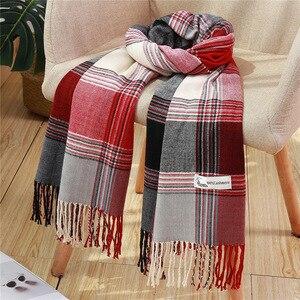 Image 2 - Moda kadınlar için ekose eşarp kaşmir püskül kışlık eşarplar pashmina şal sarar erkek örgü eşarp femme çaldı