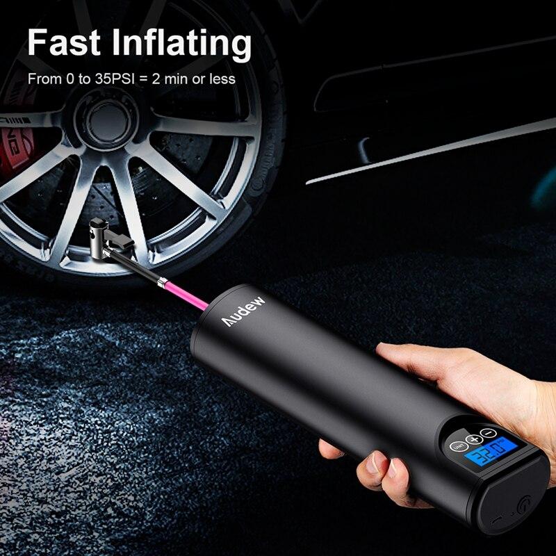 Audew 12В 150PSI беспроводной ручной надувной воздушный насос для автомобиля, надувной насос для шин, ЖК-дисплей, цифровой Перезаряжаемый для авто...