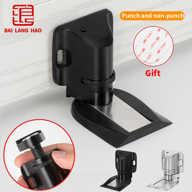 Adjustable Door Stopper Magnetic Non-Punch Stainless Stops High And Low Door Holder Handle Protector Fittings Furniture Hardware