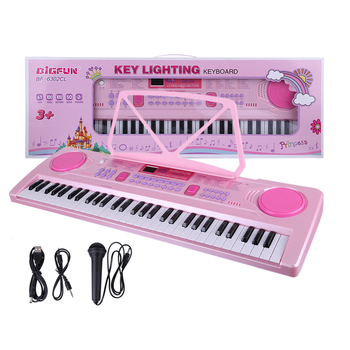 Children 61 Keys Electronic Keyboard Musical Playset Simulation Piano Electronic Music Toy with Microphone Gift For Girls - Pink