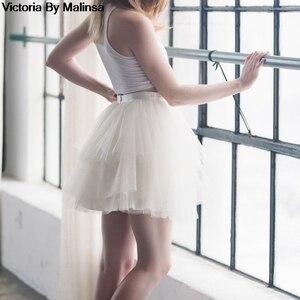 Image 3 - Mode femmes blanc Mini Tulle jupe fée noir Secret saia Voile Bouffant jupe bouffante courte Tutu jupes sur mesure