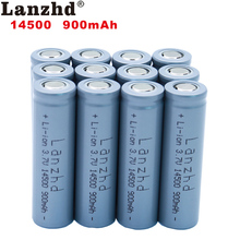 12pcs 14500 900mAh 3.7V Li-ion Rechargeable Batteries AA Battery Lithium Li ion Cell for Led Flashlight Headlamps Torch Mouse 2 4pcs unitek 3 7v 18500 battery 1800mah rechargeable li ion lithium ion cell with welding tabs pins for led torch flashlight