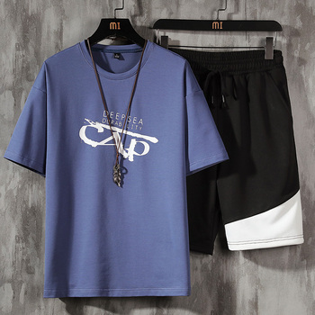 Casual Men's T-shirt + Sports Shorts Set Summer Male Sport Suit Running T-shirt Sets Fashion Harajuku Print Two Pieces Clothing 3