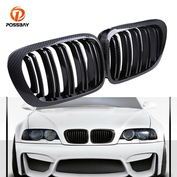 POSSBAY A Pair Car Front Center Hood Grill Carbon Fiber Look Kidney Grilles car styling For BMW E46 M3 325Ci 330Ci 2000-2003 image