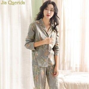 Image 3 - Pyjamas Für Frauen 2020 Neue 100% Reine Baumwolle Frauen Hause Anzug XXXL Grau Floral Revers Strickjacke Top + Lange Böden 2 Pcs Frauen Pyjamas