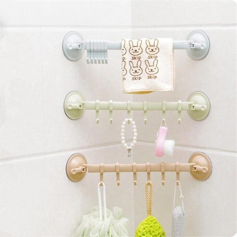 Bathroom 6 Hooks Hanger Rack Wall-mounted Kitchen Cupboard Cooking Tool Storage Shelf Clothes Towel Organizer Gabgets Holder