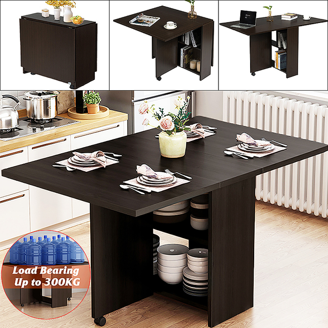 3 in 1 Rolling Dining Table Set Folding Wooden Dining Table Movable Office Table Kitchen Storage Home Furniture 1