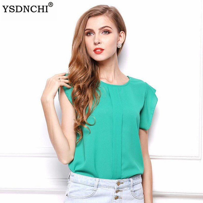 Chiffon Blouse Summer Pleated Top Petal Sleeve Womens Tops And Blouses Round Office Ladies Hot Workwear Casual Shirts