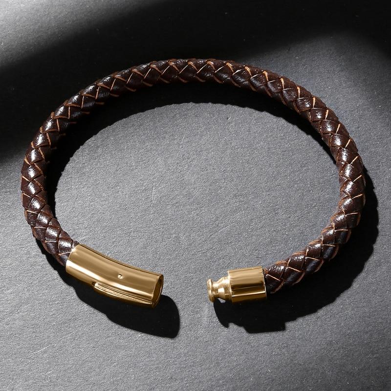 Fashion HOT Sale Classic Men Charm Bracelets Brown Genuine Leather Rope Braided Bracelet Simple Style Women Jewelry 601