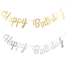 Gold Silver Happy Birthday Banner Hanging Garland Bunting Baby Shower Boy Girl Birthday Party Favors Decoration Supplies space banner party decoration baby shower birthday banner party supplies kids boy girl birthday decoration bunting garland flags