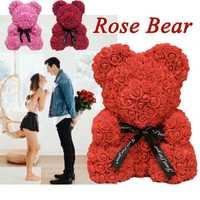 Presente quente do dia dos namorados 40cm rosa vermelha ursinho rosa flor artificial decoração presentes de natal presente dos namorados feminino