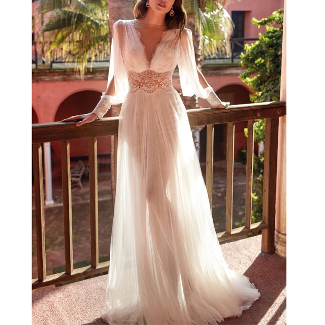 2021 Summer New Arrival Ladies Dress Casual Brand Sexy V-Neck Long-Sleeved Lace Mesh Stitching Gown Suitable for Formal Partie 1