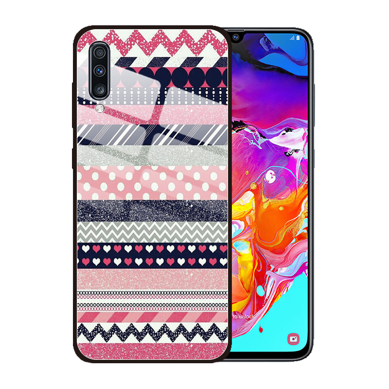 for <font><b>Samsung</b></font> Galaxy <font><b>A10</b></font> A20 A20S A30S A50S A50 A30 A10S A70 M30 M40 Tempered <font><b>Glass</b></font> <font><b>Case</b></font> Stripe Geometric Retro Protective Cover image