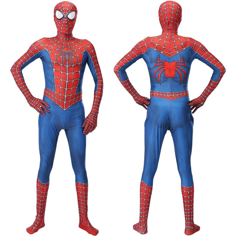Laste ja täiskasvanute Spiderman kostüüm - punane ja must variant pikkusele 100-190cm 2