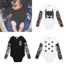 ZAFILLE Baby Infant Rompers Patchwork Boy Clothes Kids Costume Letter Print Long Sleeve New Born Boys