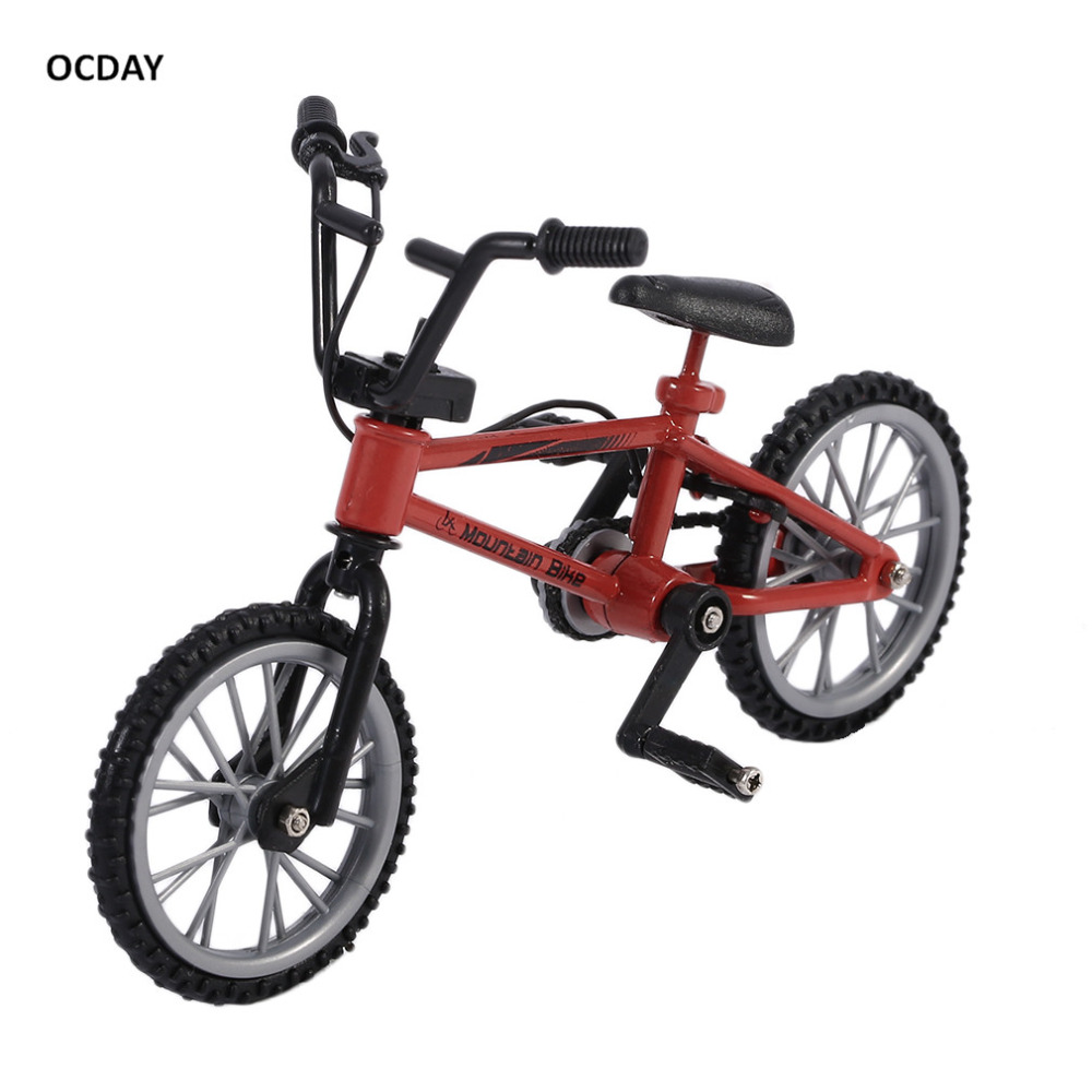 OCDAY Simulation Alloy Finger Bmx Bike Children Red Finger Board Bicycle Toys With Brake Rope Novelty Gift Mini Size Funny