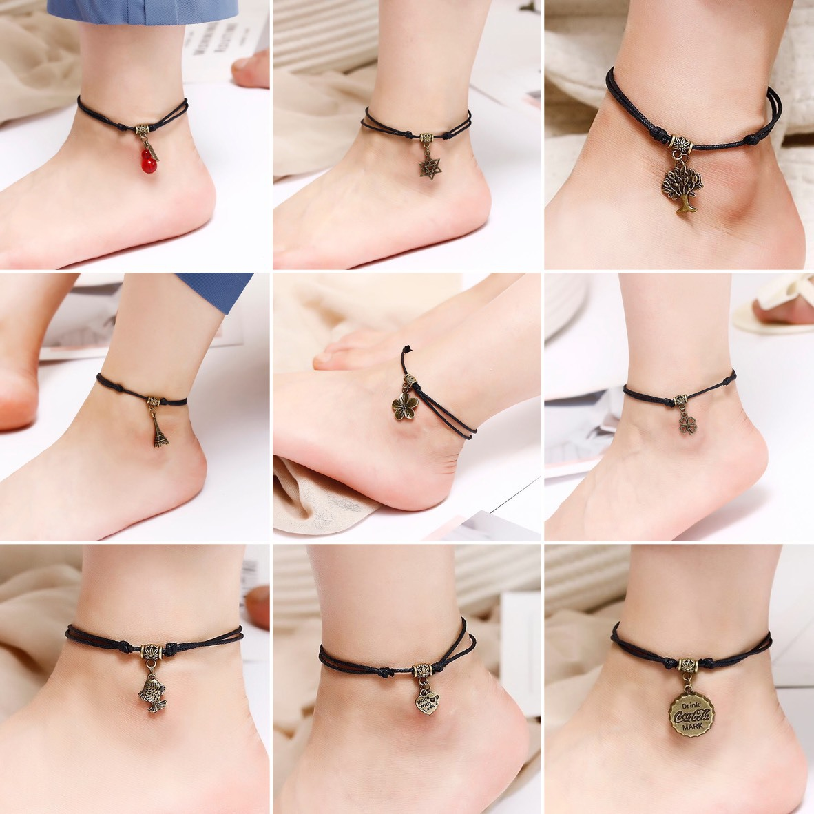 Bohemia Leaves Heart Sun Insect Pendant Ankle for Women Black Rope Bracelets on Leg Choker Ankles Sandal China Jewelry Gift image