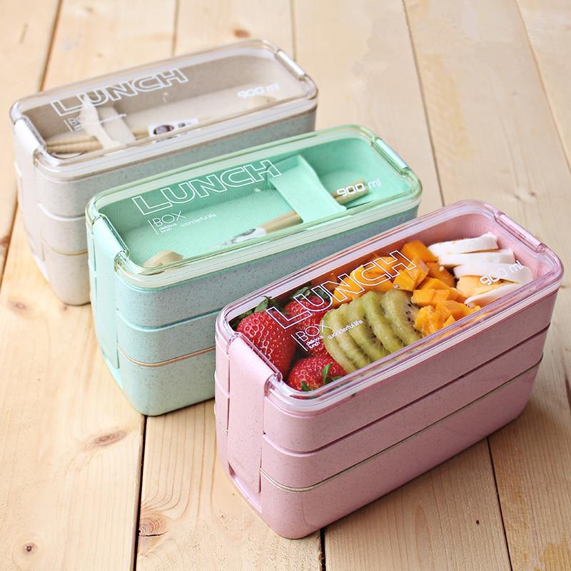 Kitchen 900ml Microwave Lunch Box Wheat Straw Dinnerware Food Storage Container Children Kids School Office Portable Bento Box