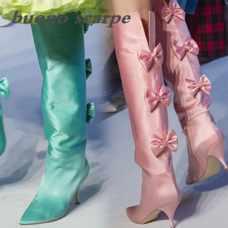 Sweet pointed top with bow tie personality show high tube large size women's boots