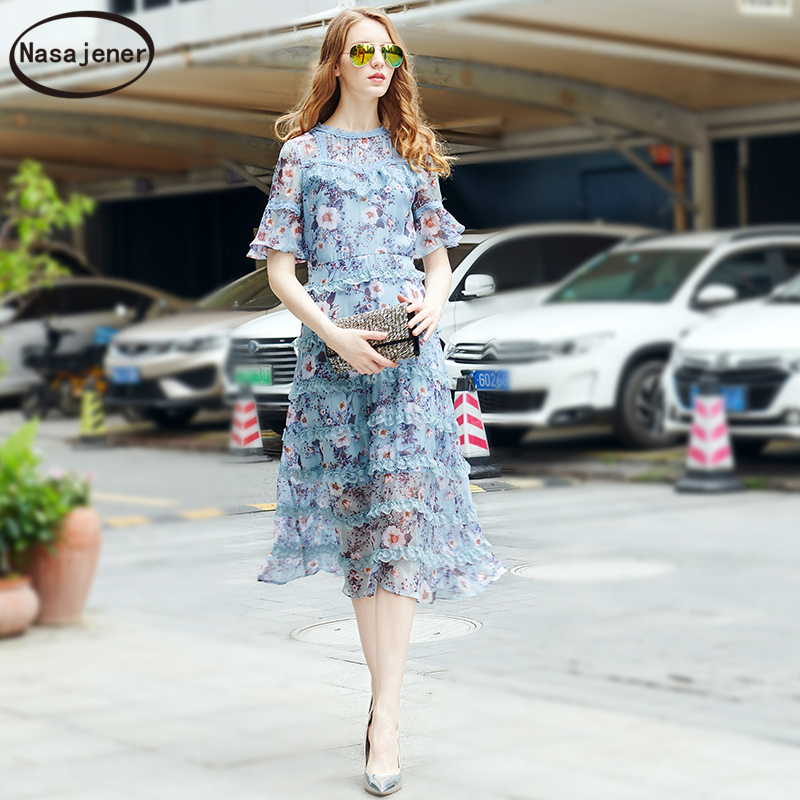 2019 New Summer Midi Dress Fashion Runway Woman's Flare Sleeve Floral Printed Lace High Waist Elegant Vintage Holiday Dresses