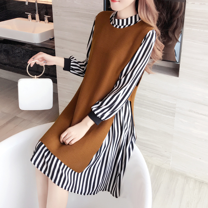 Large Size Dress Autumn Clothing Plus-sized Womenswear Mm2019 New Style Set Two-Piece Set Loose Tibetan Meat Large GIRL'S Long-s