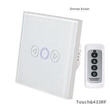 Dimmer interruptor de toque 1 gang interruptor de luz parede padrão da ue painel vidro cristal controle remoto interruptor luz rf 433mhz controlador