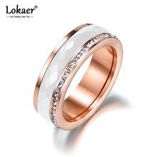 Lokaer – Bague en acier titane blanc et cristaux or rose CZ pour femme, anneaux de mariage en céramique, bijou de fiançailles classique, R18056