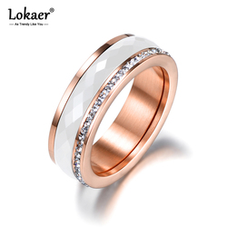 Lokaer Classic Titanium Steel White Ceramics Ring Jewelry Rose Gold CZ Crystal Wedding Engagement Rings For Women Anneaux R18056
