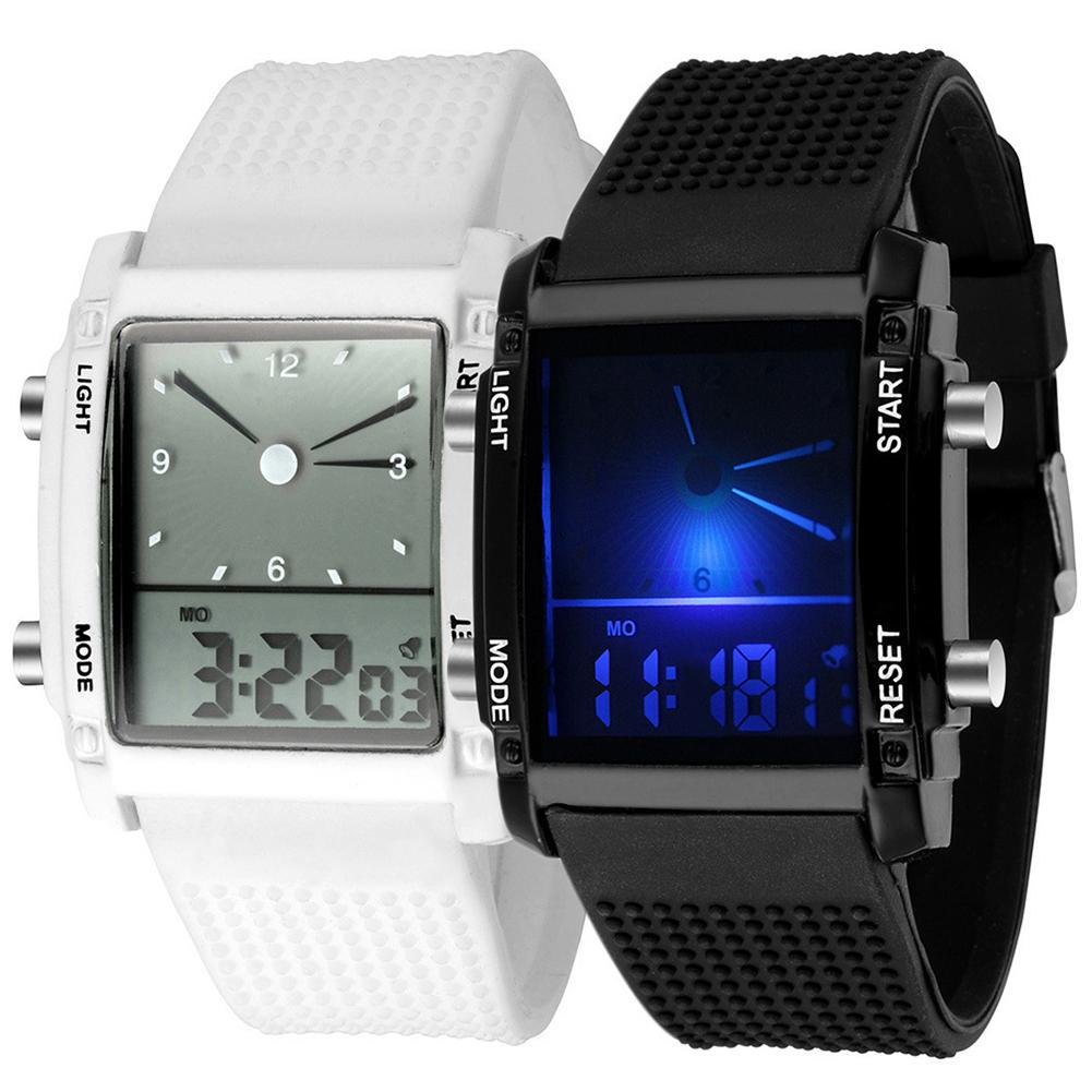 Men Square Dial Dual Time Day Display Alarm Colorful LED Sports Clock Electronic Wrist Watch New Fashion Sport Stainless Steel
