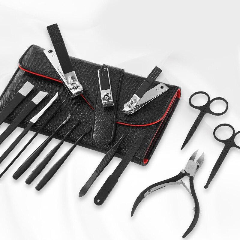 Набор из 15 многофункциональных кусачек для ногтей, набор из нержавеющей стали, Черные ножницы для педикюра, пинцет, маникюрный набор
