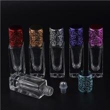 7ml Portátil de Aço Inoxidável Quadrado de Vidro Transparente Bola Garrafa 7cc Rolo Recarregáveis em Recipientes De Vidro Para Óleo Essencial