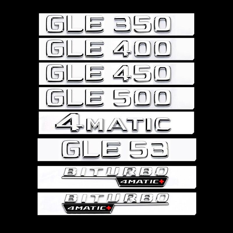 2016 + krom düz yazı tipi gövde harfler rozeti amblemi amblemleri etiket Mercedes Benz için GLE43 GLE63 GLE63s V8 V12 BITURBO 4matİk AMG