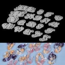 Brief Form Einzigen Alphabet Anzahl Silikon Formen Kristall Kleber Epoxy Harz Casting Form für DIY Schmuck Machen Zubehör