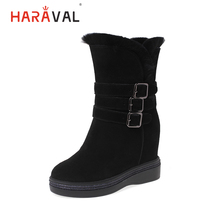 HARAVAL Winter Fashion Woman Ankle Boots Quality Cow Suede Warm High Heel Buckle Shoes Comfortable Casual Solid Snow Boot B278