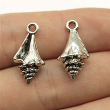 10 piezas, colgantes de concha de 21x11x6mm para hacer joyas, colgantes de concha de Color plata antiguo