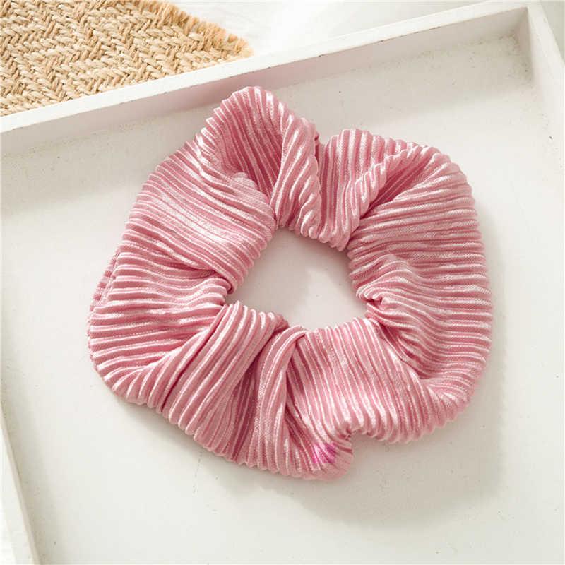 Lovely Satin Wrinkle Hair Scrunchies Elastic Hair Bands Women Bright Pink Scrunchie Girls Hair Ties Accessories Ponytail Holders