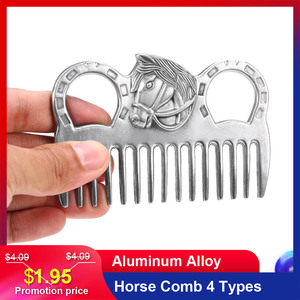 """Image 1 - Lixada Horse Comb Aluminum Alloy Horse Cleaning Tool Mane Tail Pulling Combs Grooming Equipment Horse Care Accessories 3.2 6.5"""""""