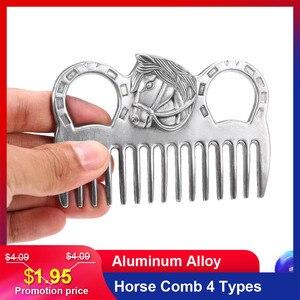 """Image 1 - Lixada koń grzebień ze stopu aluminium urządzenia do oczyszczania koni grzywa ogon ciągnięcie grzebienie sprzęt pielęgnacyjny akcesoria do pielęgnacji koni 3.2 6.5"""""""