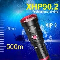 Potente linterna Led de buceo Usb Xhp90.2 linterna subacuática recargable 18650 XHP90 IP8 lámpara de antorcha de buceo impermeable lanterna