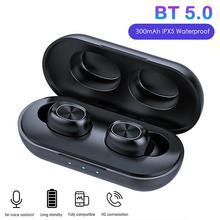 B5 TWS 블루투스 5.0 무선 이어폰 미니 터치 컨트롤 이어 버드 9D 스테레오 이어폰 스포츠 블루투스 헤드셋 충전 박스 포함