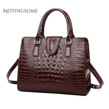 Crocodile Pattern Women Tote Bag Top Quality Leather Shoulde