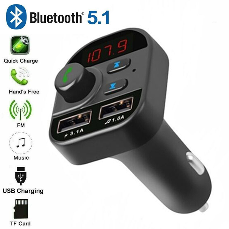 Car Handsfree Wireless Bluetooth 5.1 Kit FM Transmitter LCD Car MP3 Player USB FM Modulator Car Accessories
