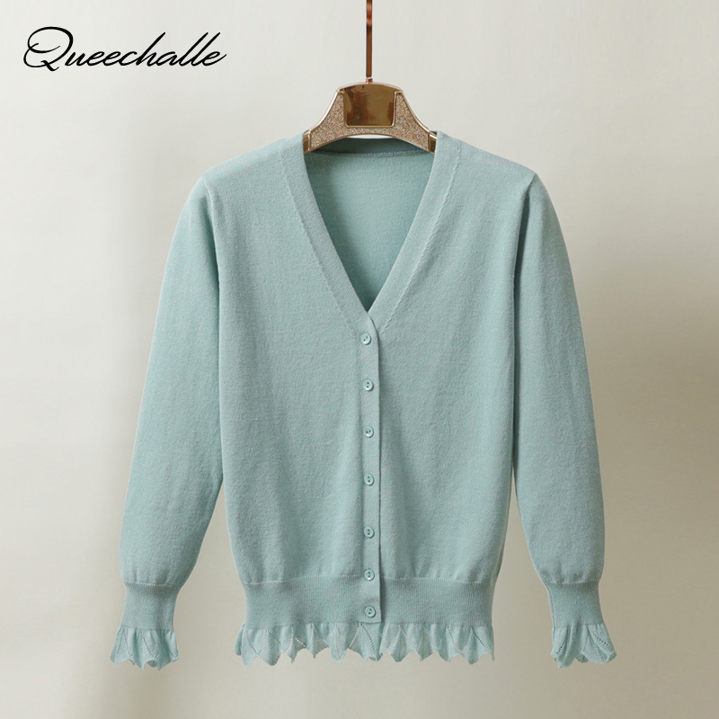 US $12.99 40% OFF Queechalle 8 Colors Women Knitted Cardigan Coat Short 2020 Spring Autumn V Neck Long Sleeve Casual Knit Sweater Coat Female