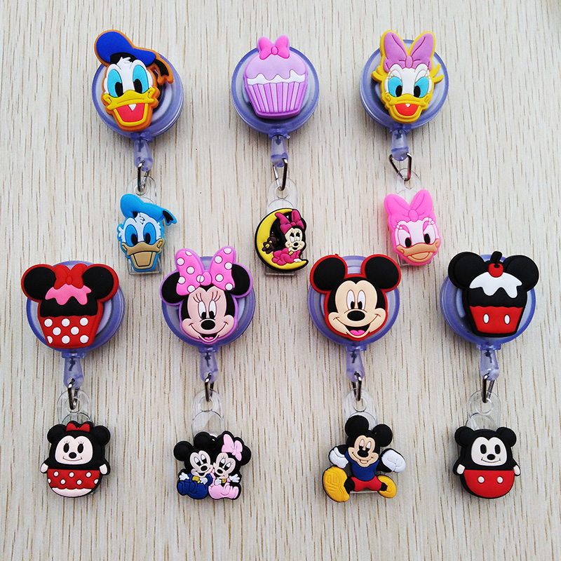 1 Pcs/lot New Creative Cartoon Animal Retractable Badge Reel ID Name Tag Card Student Badge Holder Lovely School Office Supplies